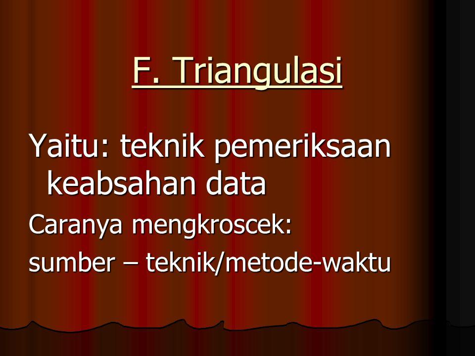 F. Triangulasi Yaitu: teknik pemeriksaan keabsahan data