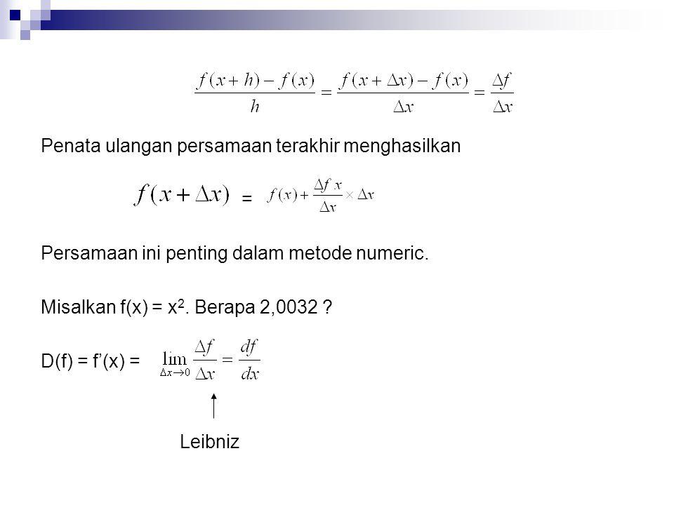Penata ulangan persamaan terakhir menghasilkan