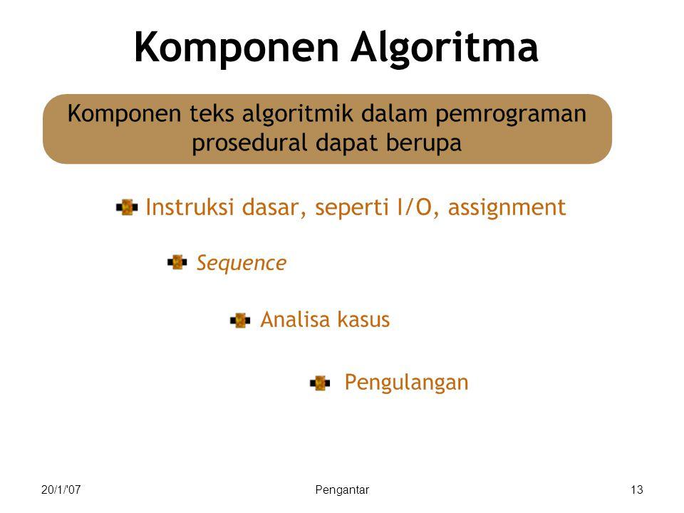 Komponen Algoritma 20/1/ 07 Pengantar