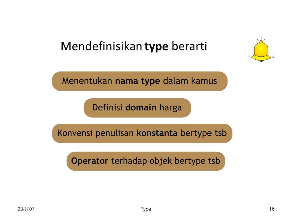 Mendefinisikan type berarti