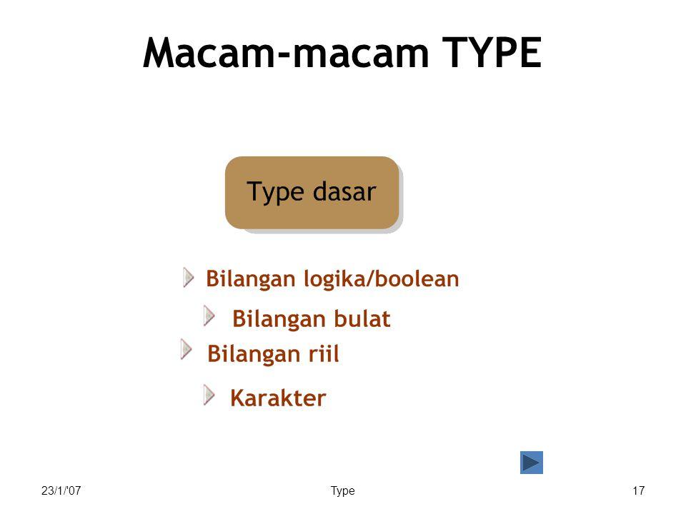 Macam-macam TYPE Macam-macam type: