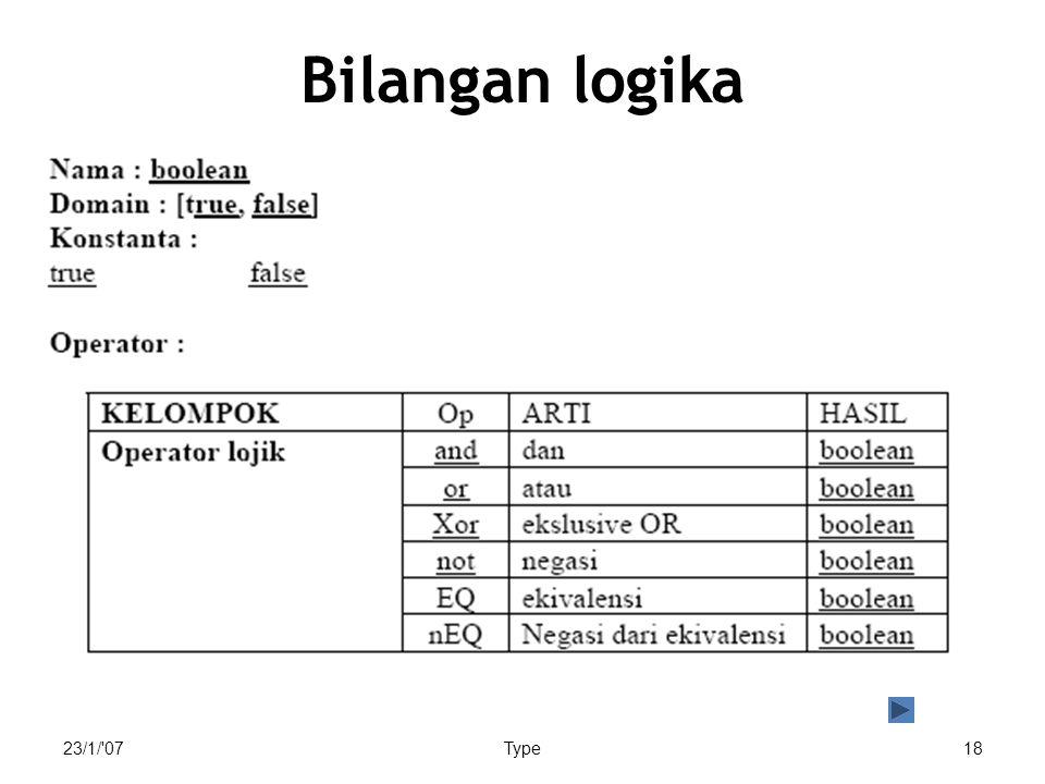 Bilangan logika 23/1/ 07 Type