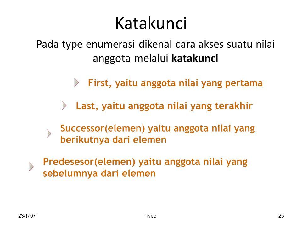 Katakunci Pada type enumerasi dikenal cara akses suatu nilai anggota melalui katakunci.