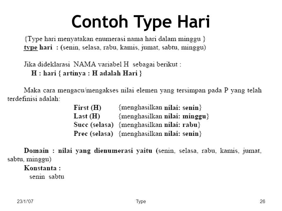 Contoh Type Hari 23/1/ 07 Type