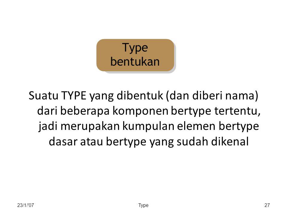 Suatu TYPE yang dibentuk (dan diberi nama) dari beberapa komponen bertype tertentu, jadi merupakan kumpulan elemen bertype dasar atau bertype yang sudah dikenal
