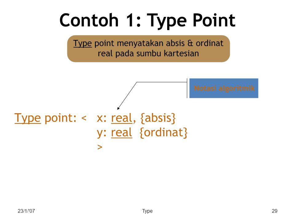 Contoh 1: Type Point Akhir slide, lebih lanjut akan dibahas dlm record/ kuliah struktur data. 23/1/ 07.