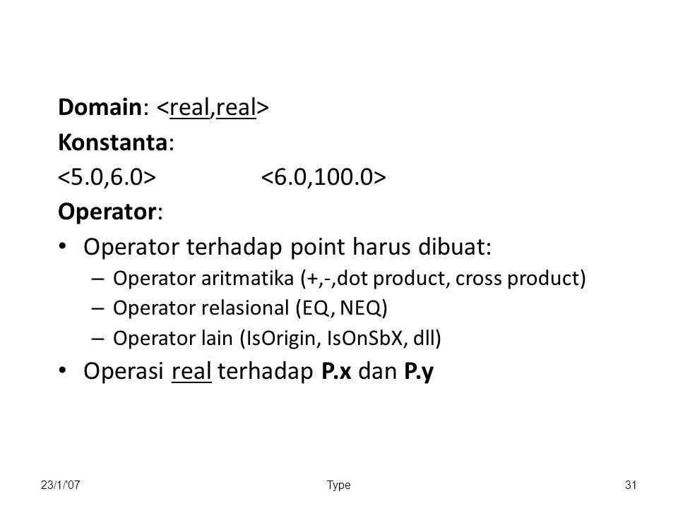 Domain: <real,real> Konstanta: <5.0,6.0> <6.0,100.0>