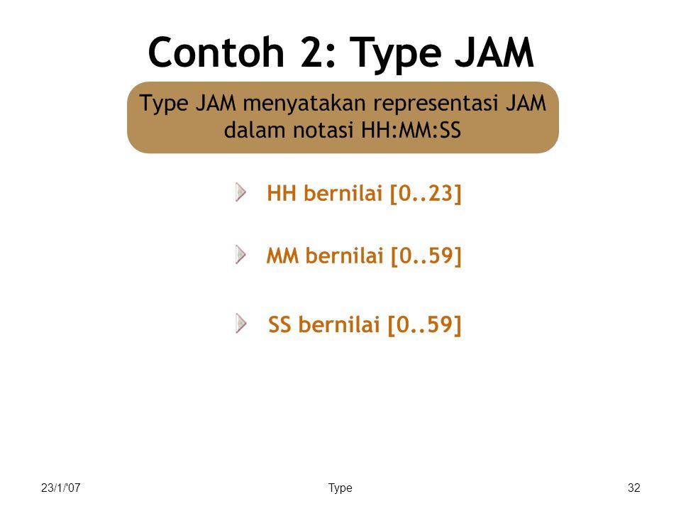 Contoh 2: Type JAM 23/1/ 07 Type