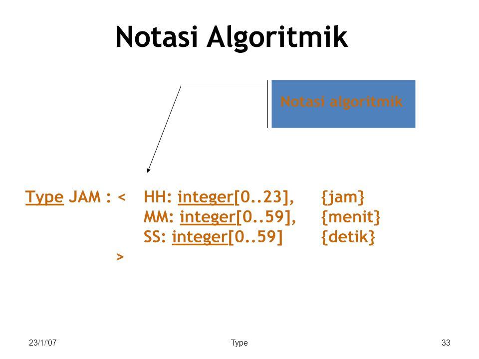 Notasi Algoritmik 23/1/ 07 Type