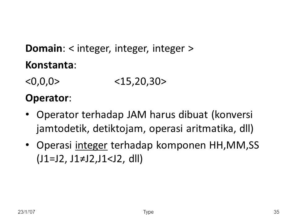 Domain: < integer, integer, integer > Konstanta: