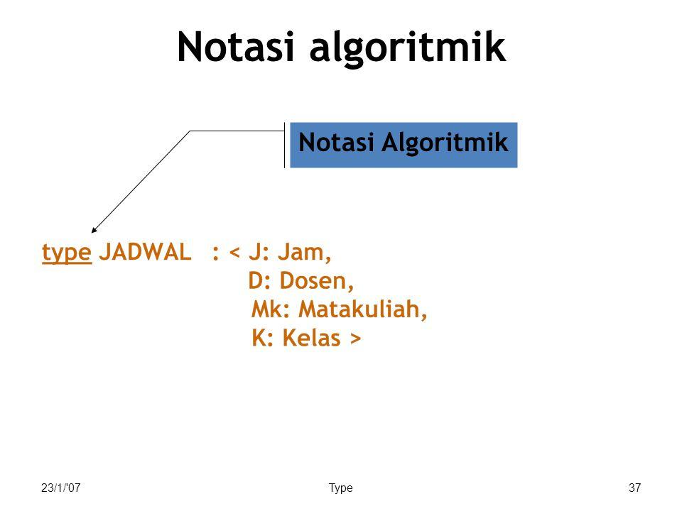 Notasi algoritmik Notasi Algoritmik 23/1/ 07 Type