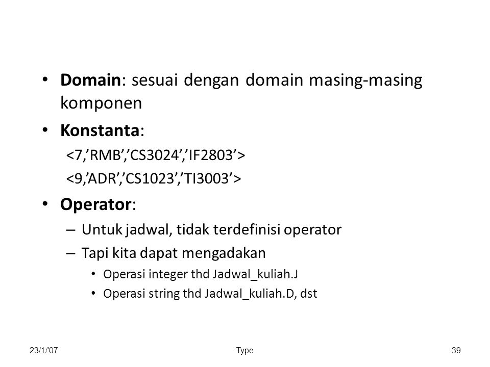 Domain: sesuai dengan domain masing-masing komponen Konstanta: