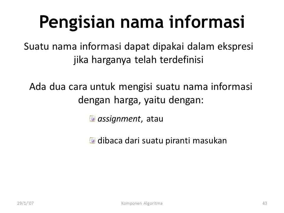 Pengisian nama informasi