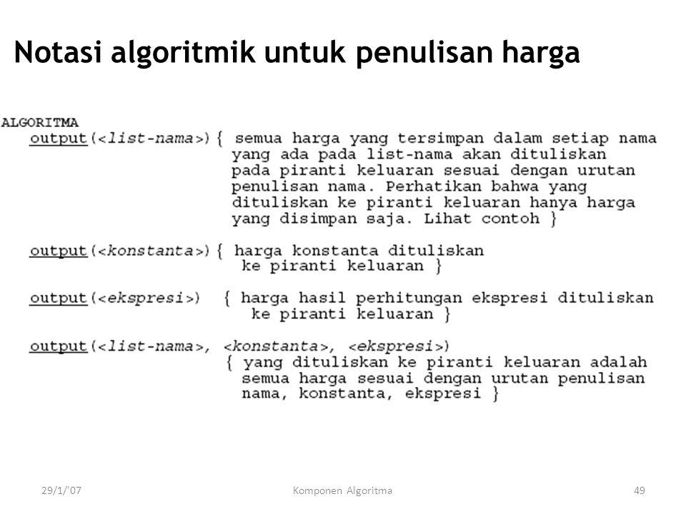 Notasi algoritmik untuk penulisan harga