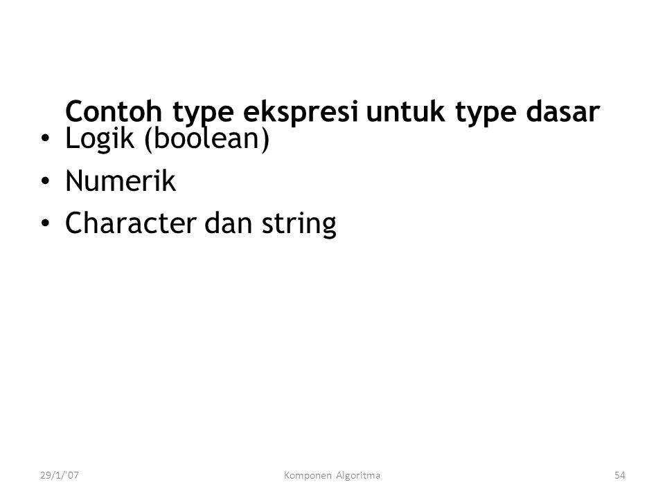 Contoh type ekspresi untuk type dasar