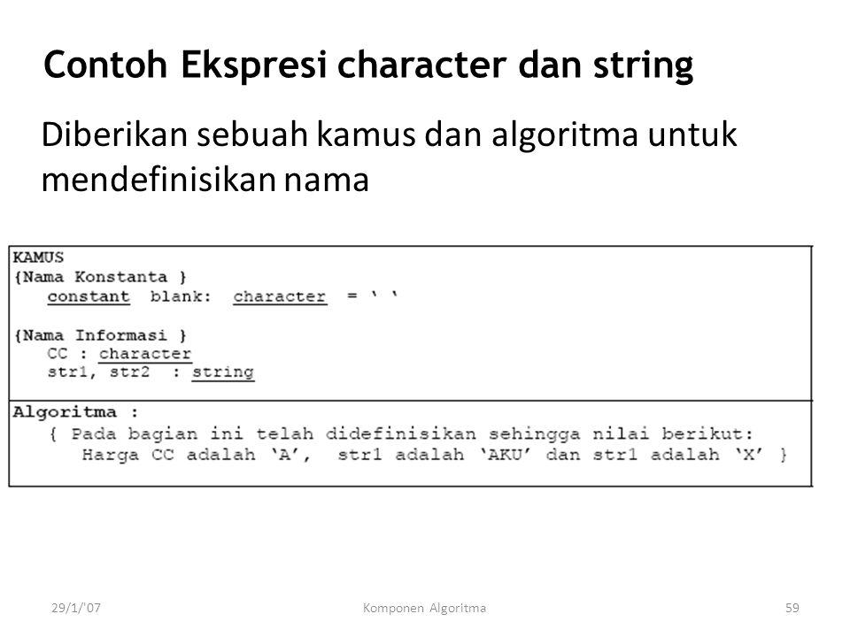 Contoh Ekspresi character dan string