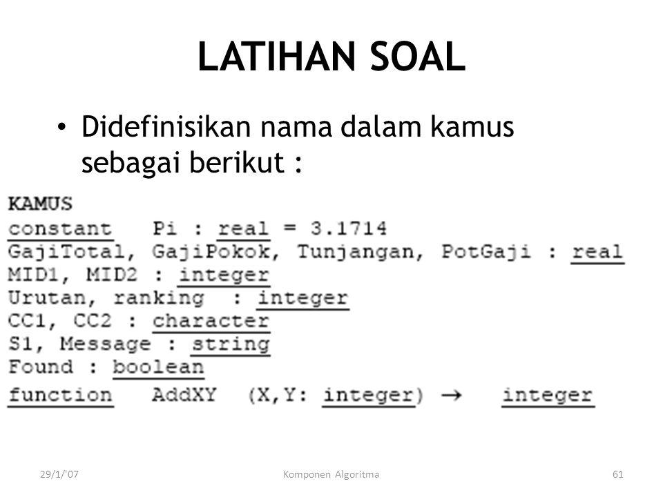 LATIHAN SOAL Didefinisikan nama dalam kamus sebagai berikut : 29/1/ 07