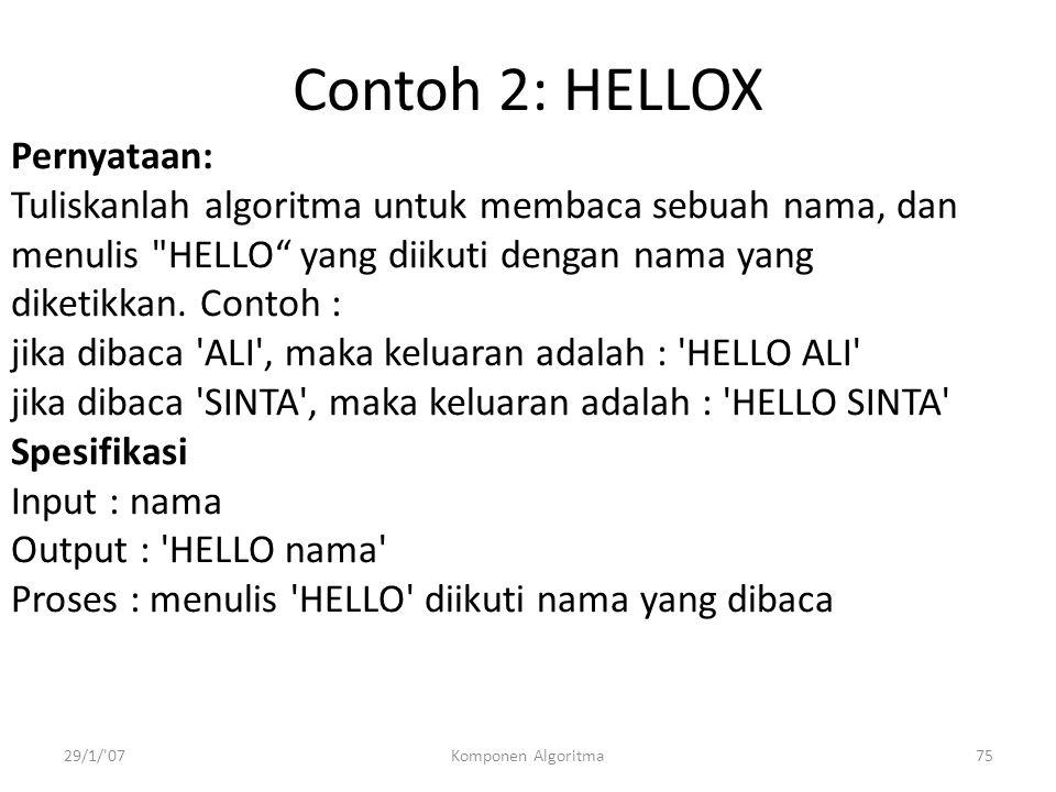 Contoh 2: HELLOX Pernyataan: