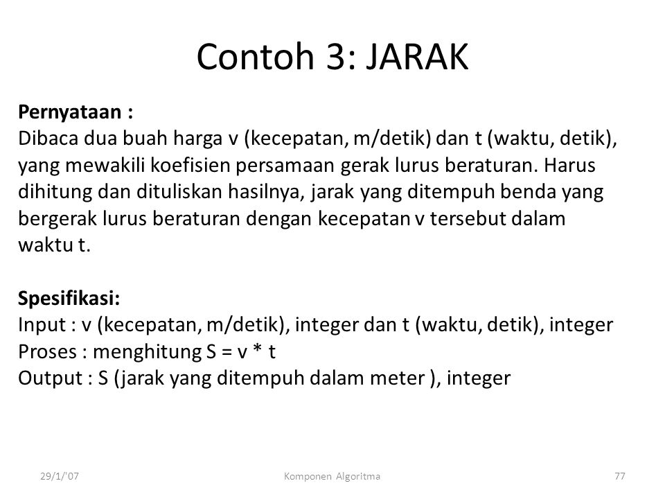 Contoh 3: JARAK Pernyataan :