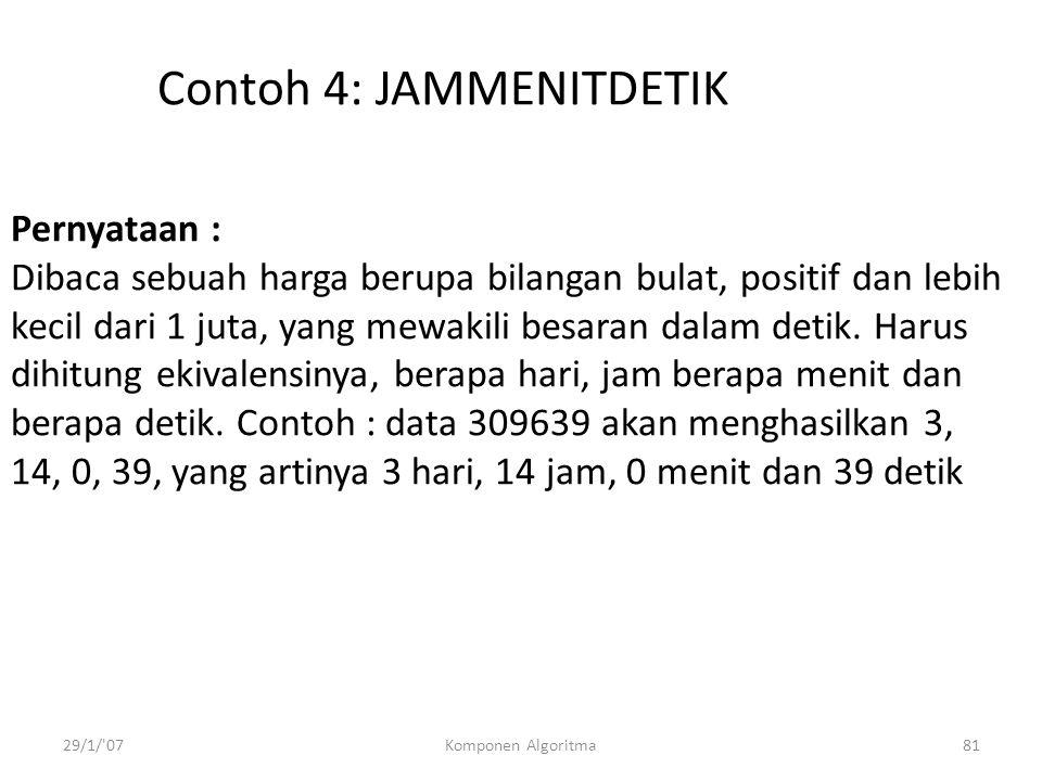Contoh 4: JAMMENITDETIK