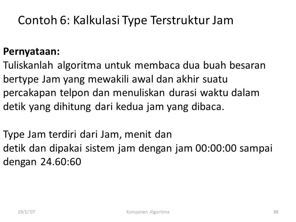 Contoh 6: Kalkulasi Type Terstruktur Jam
