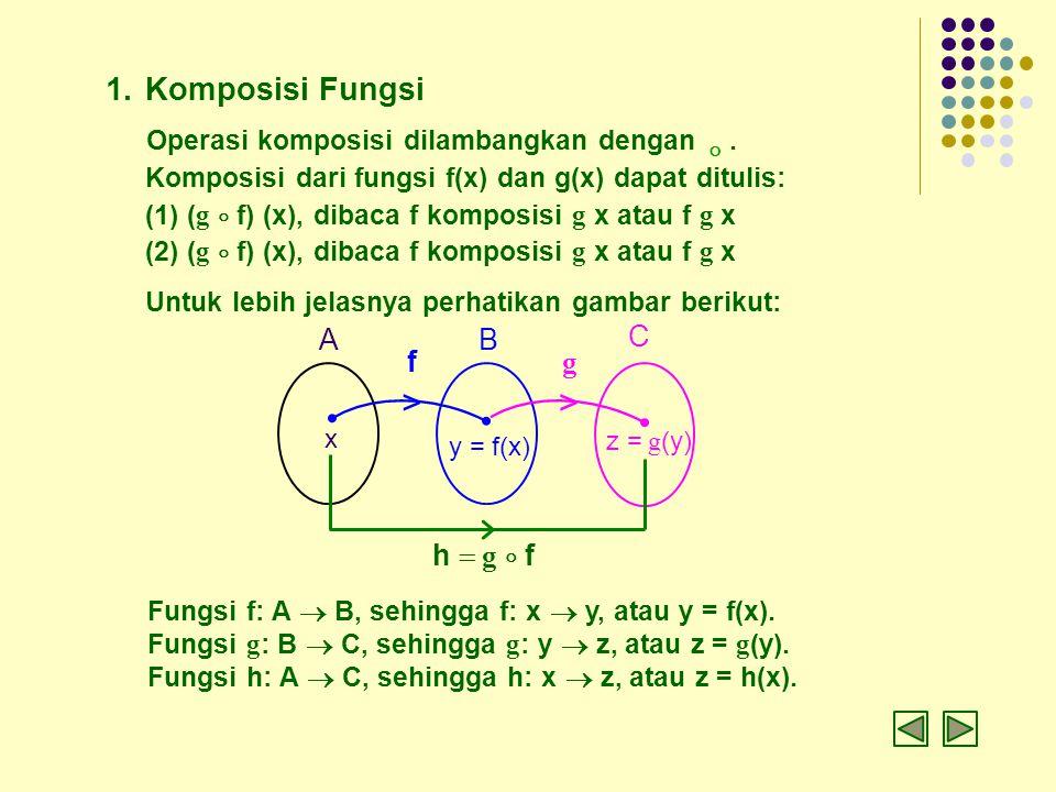 > > Komposisi Fungsi  Operasi komposisi dilambangkan dengan . A