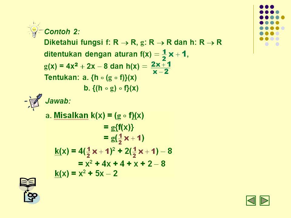 Contoh 2: Diketahui fungsi f: R  R, g: R  R dan h: R  R. ditentukan dengan aturan f(x) = ,