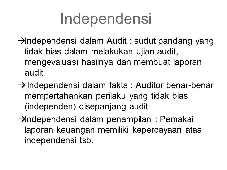 Independensi Independensi dalam Audit : sudut pandang yang tidak bias dalam melakukan ujian audit, mengevaluasi hasilnya dan membuat laporan audit.