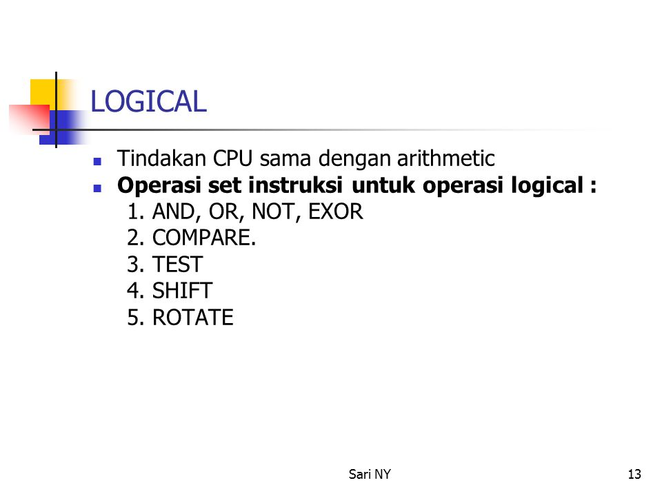 LOGICAL Tindakan CPU sama dengan arithmetic