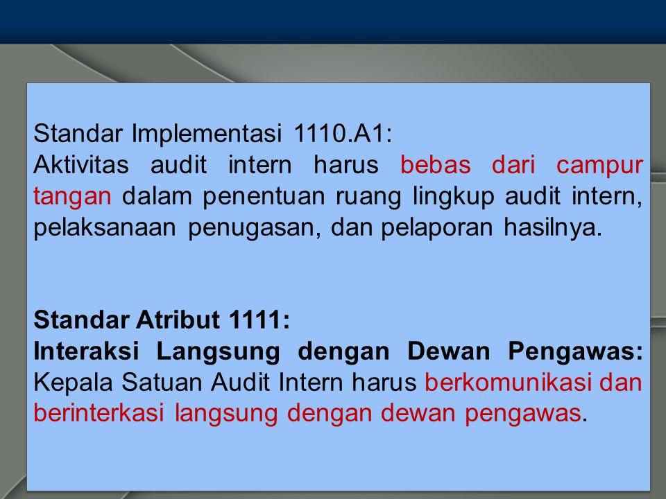 Standar Implementasi 1110.A1: