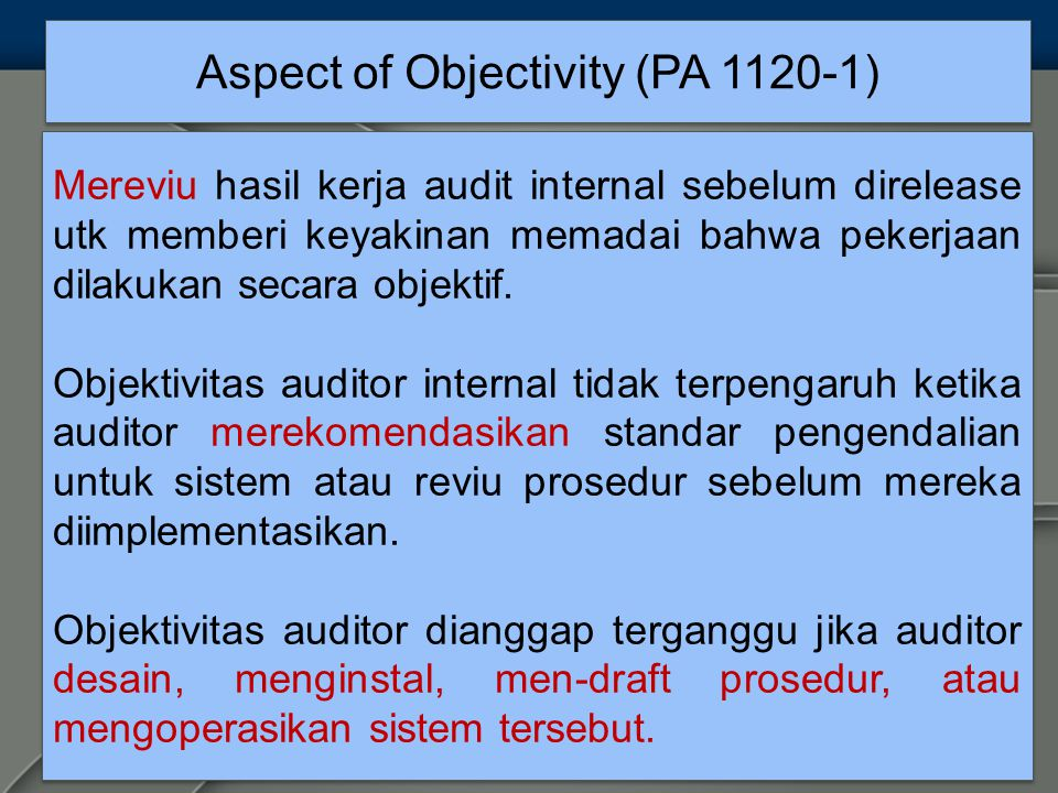 Aspect of Objectivity (PA 1120-1)