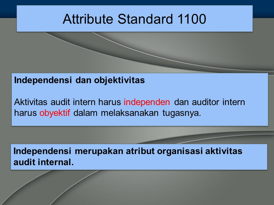 Attribute Standard 1100 Independensi dan objektivitas
