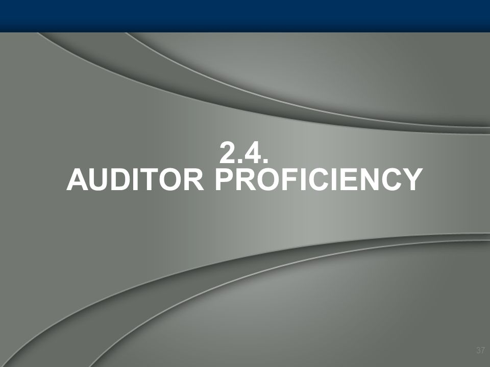 2.4. Auditor Proficiency