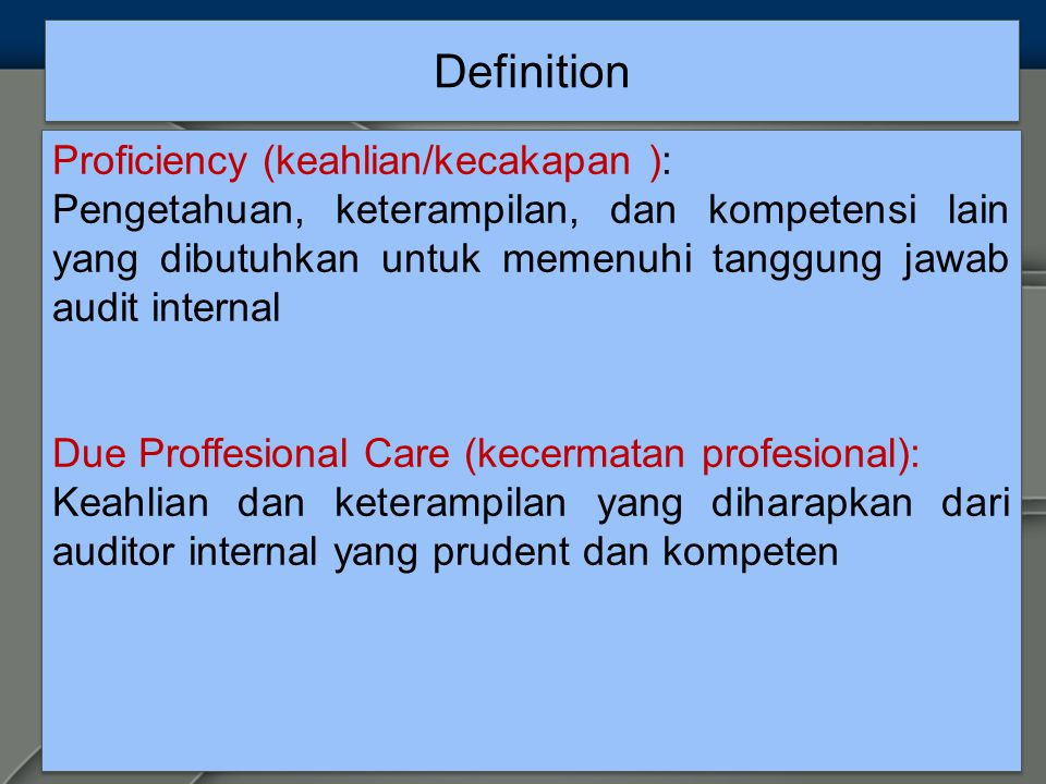 Definition Proficiency (keahlian/kecakapan ):