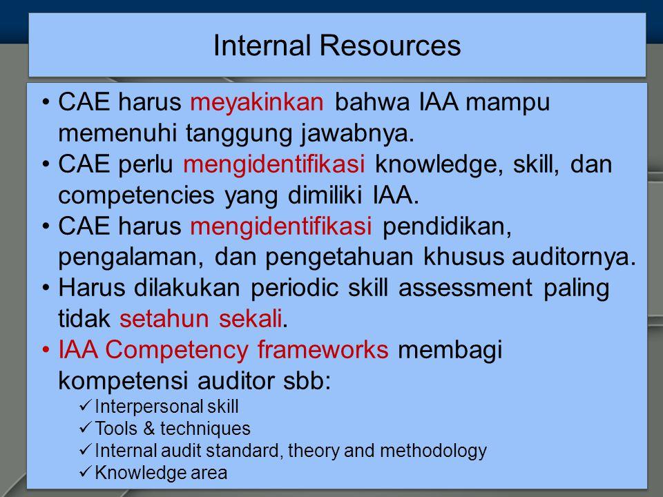 Internal Resources CAE harus meyakinkan bahwa IAA mampu memenuhi tanggung jawabnya.
