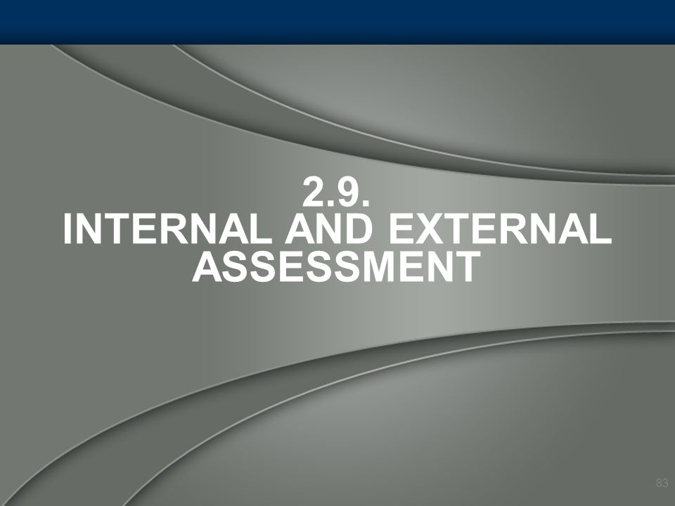 2.9. Internal and External Assessment