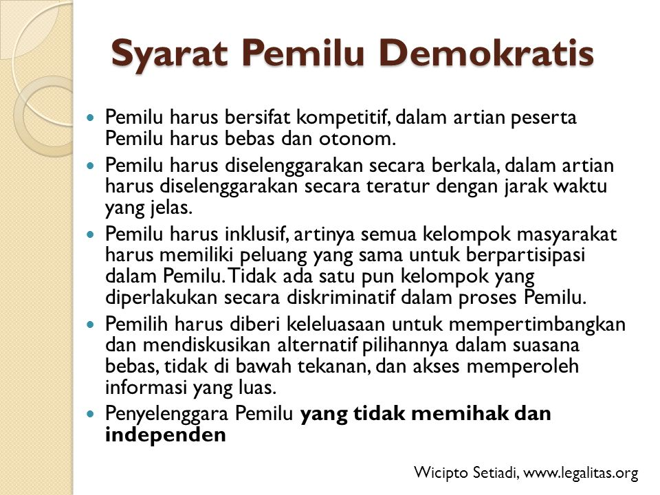 Syarat Pemilu Demokratis