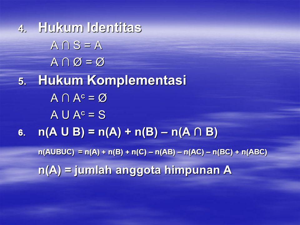 n(AUBUC) = n(A) + n(B) + n(C) – n(AB) – n(AC) – n(BC) + n(ABC)