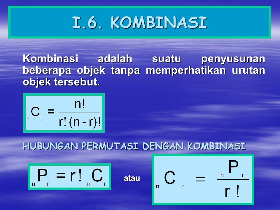 I.6. KOMBINASI Kombinasi adalah suatu penyusunan beberapa objek tanpa memperhatikan urutan objek tersebut.