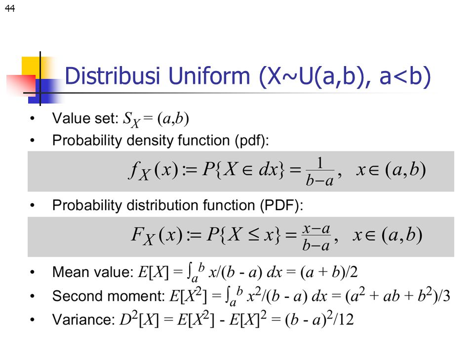 Distribusi Uniform (X~U(a,b), a<b)