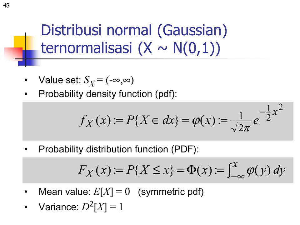 Distribusi normal (Gaussian) ternormalisasi (X ~ N(0,1))