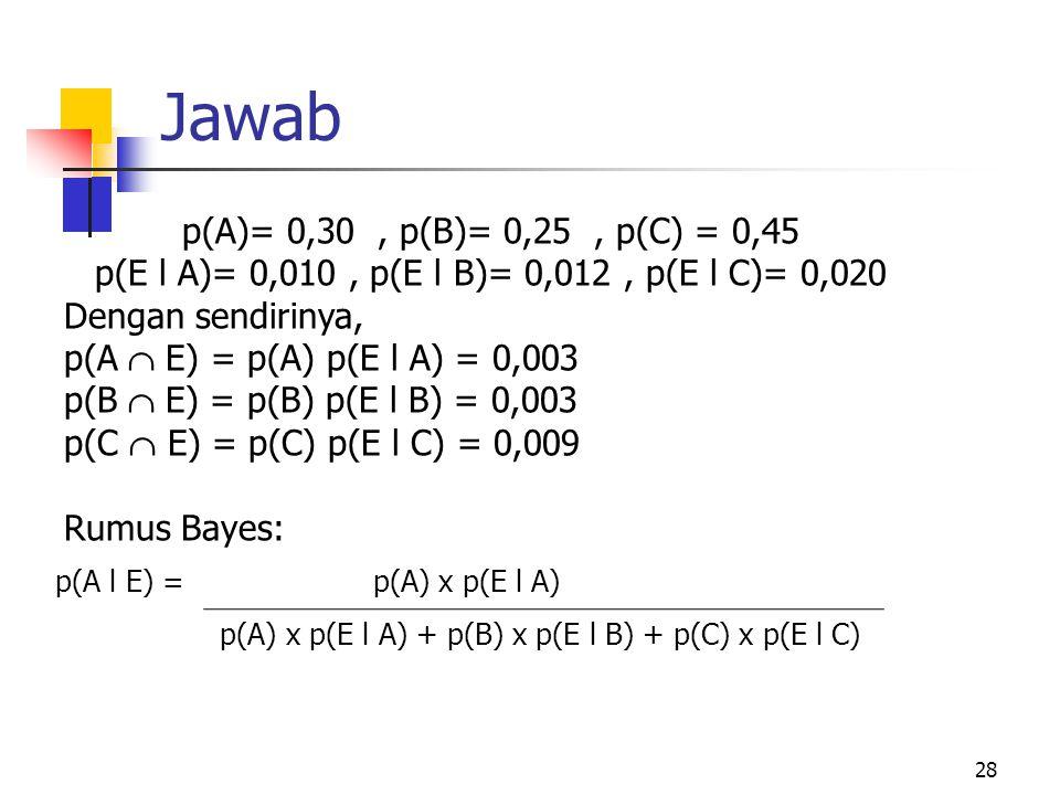 p(E l A)= 0,010 , p(E l B)= 0,012 , p(E l C)= 0,020