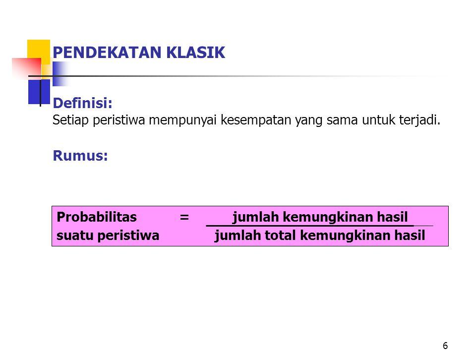 PENDEKATAN KLASIK Definisi: Rumus: