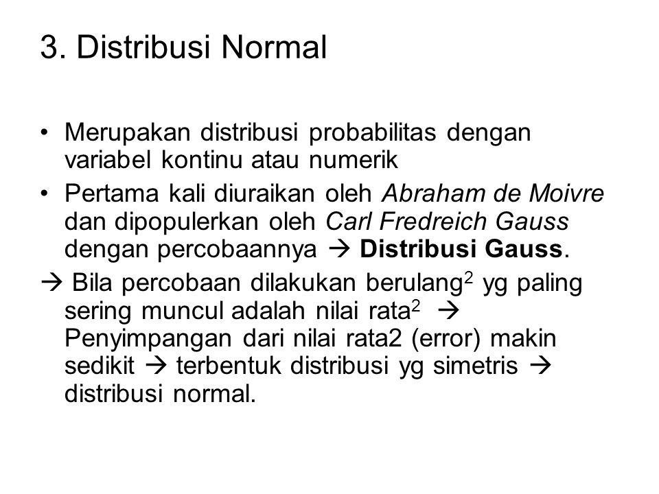 3. Distribusi Normal Merupakan distribusi probabilitas dengan variabel kontinu atau numerik.
