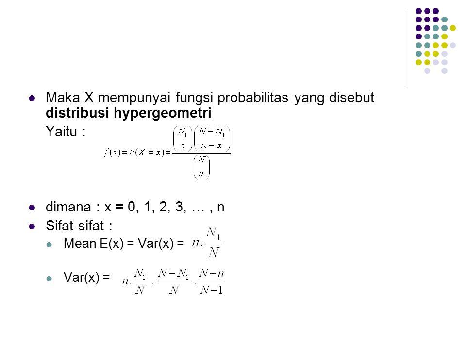 Maka X mempunyai fungsi probabilitas yang disebut distribusi hypergeometri