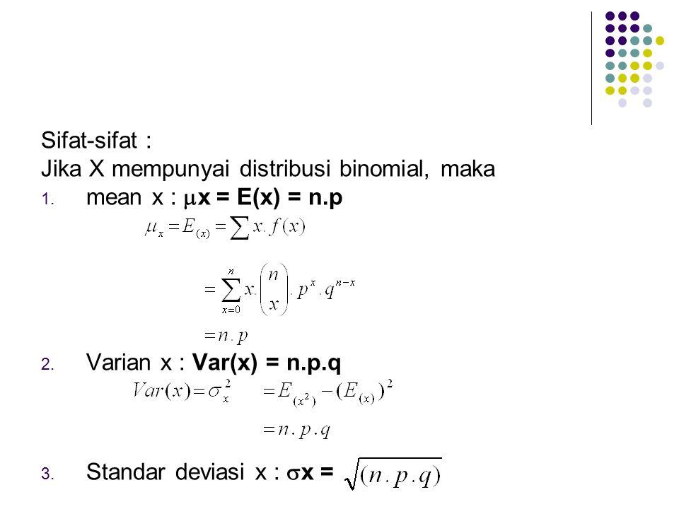 Sifat-sifat : Jika X mempunyai distribusi binomial, maka. mean x : x = E(x) = n.p. Varian x : Var(x) = n.p.q.