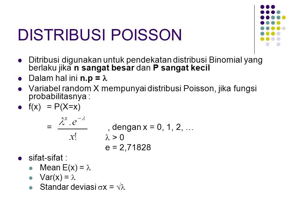 DISTRIBUSI POISSON Ditribusi digunakan untuk pendekatan distribusi Binomial yang berlaku jika n sangat besar dan P sangat kecil.