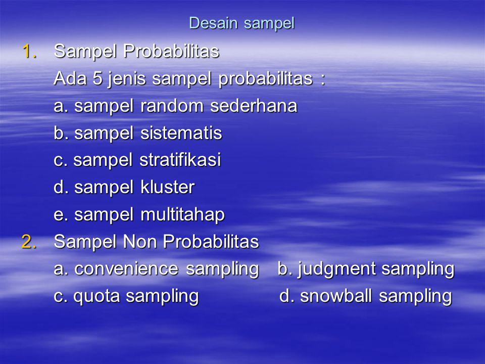 Ada 5 jenis sampel probabilitas : a. sampel random sederhana
