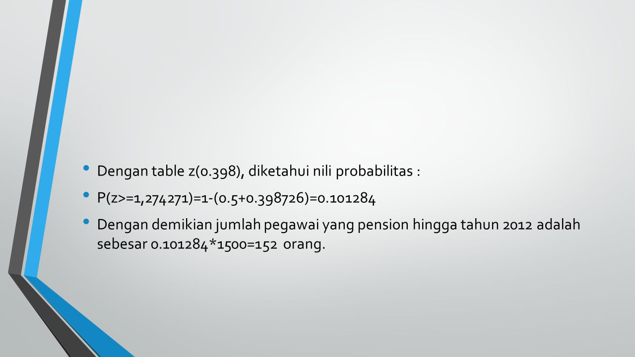 Dengan table z(0.398), diketahui nili probabilitas :