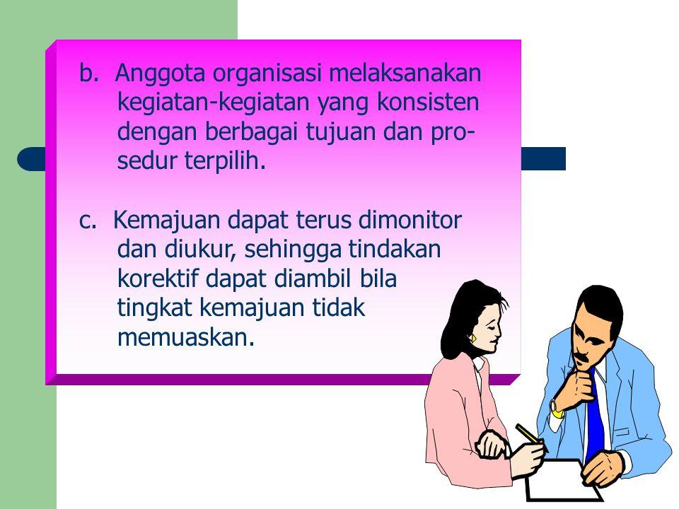 b. Anggota organisasi melaksanakan
